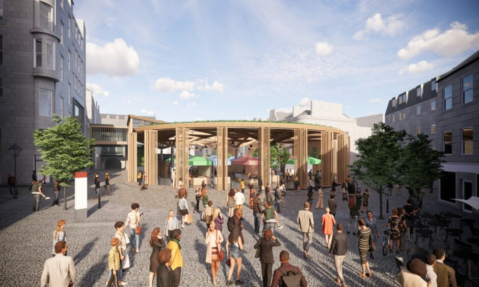A concept image of the council's planned new market, viewed from The Green.