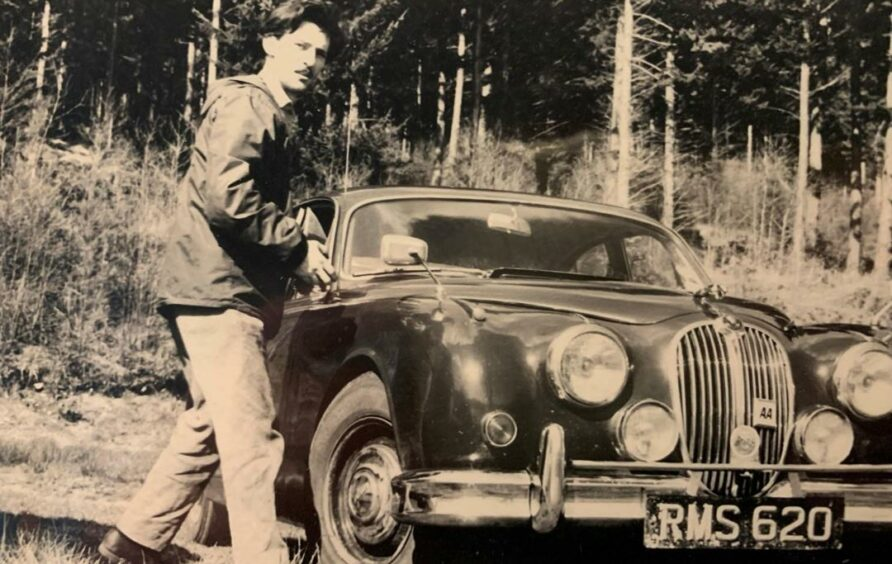 Ian Gourlay and his Jaguar while on holiday in France.