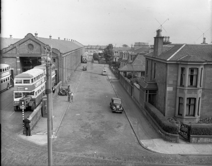 Maryfield depot in use as a bus garage in 1957, just a year after the last trams departed.