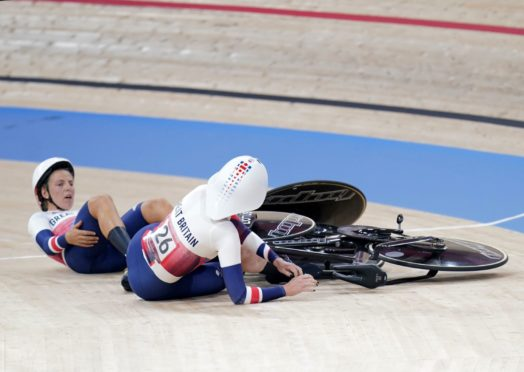 Great Britain's Kate Archibald collides with team-mate Neah Evans after the women's team pursuit semi-final.