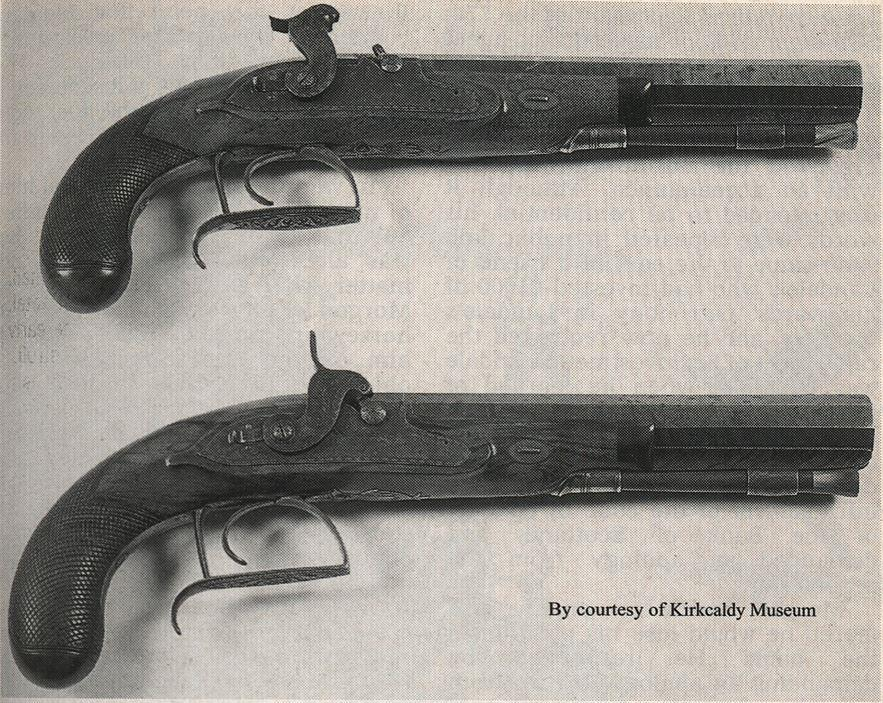 The pistols used by David Landale were gifted to the Kirkcaldy Museum by the Landale family soon after its opening in 1925.