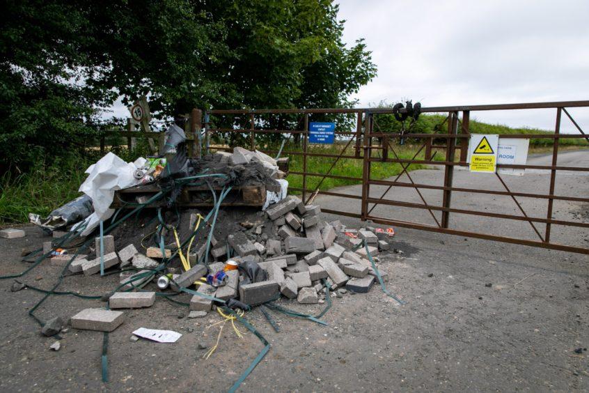 Rubbish at a Fife wind farm