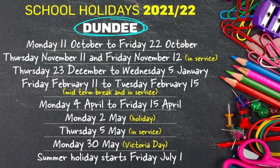 Dundee school holidays 2021/2022
