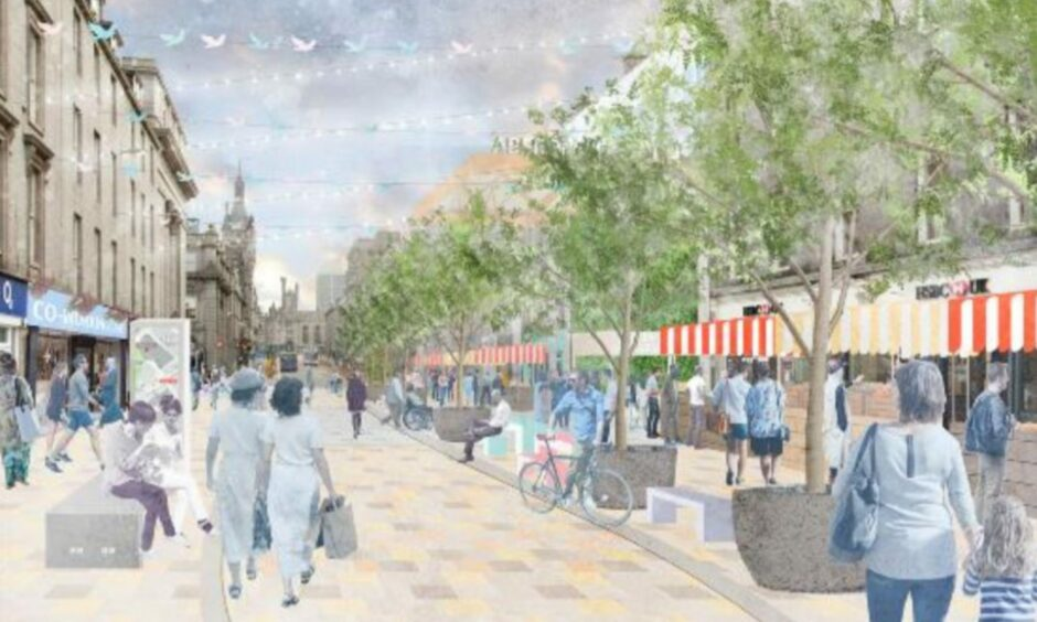Detailed designs for a pedestrianised Union Street, pictured here outside the planned Aberdeen International Market, could be 'prioritised' at a council meeting today.