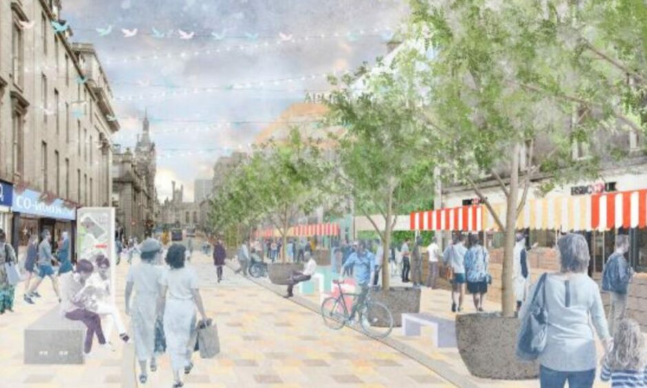 Concept images of Union Street, pedestrianised between Market Street and Bridge Street. Picture shows the entrance to the planned new market, on the British Home Stores site.
