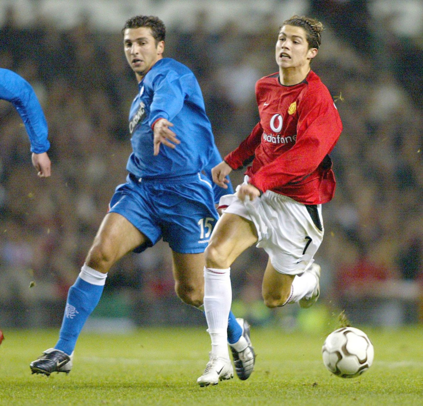 Cristiano Ronaldo in action for Manchester United against Rangers.