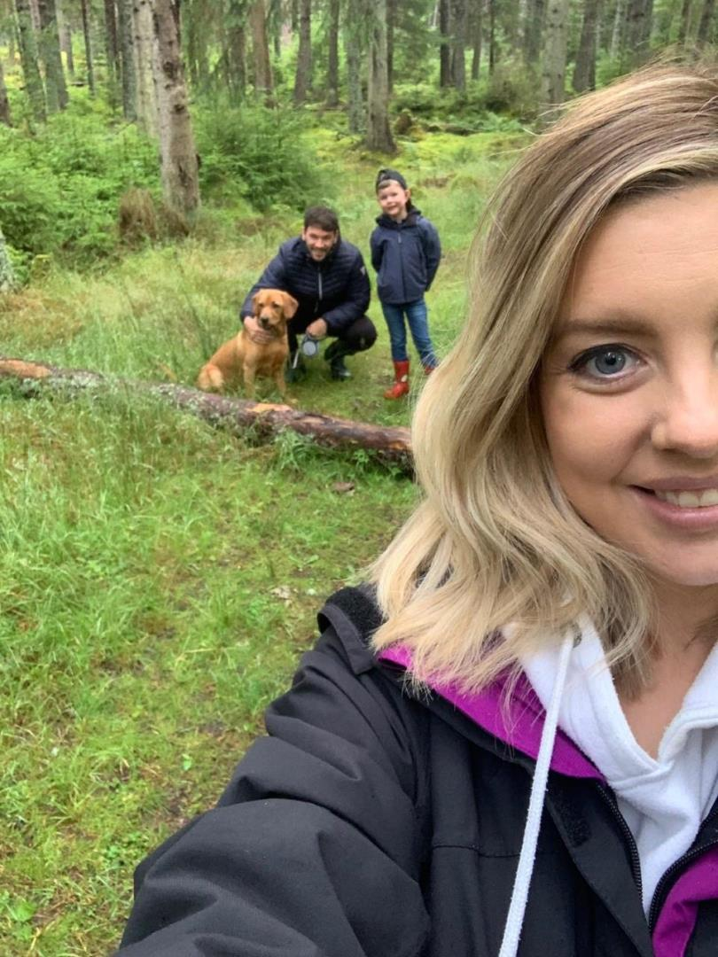 Samantha Leckie with her partner Allan, son Jacob and family pet, Lottie.