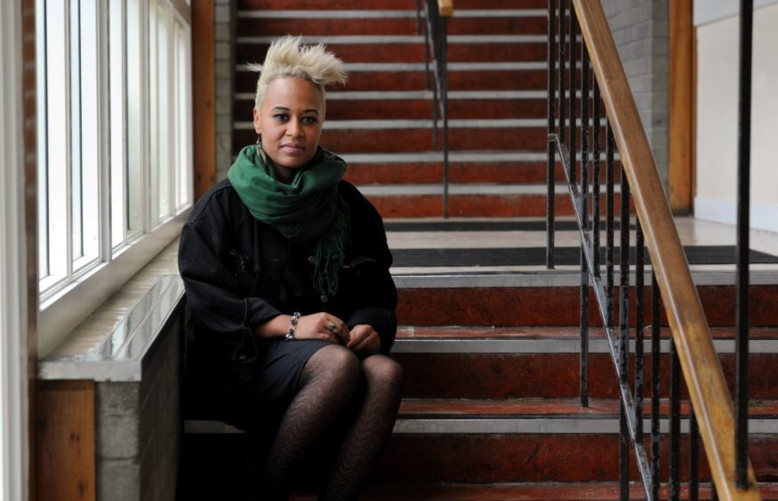 Emeli Sande visited Alford Academy, her old secondary school. Picture by Richard Frew.