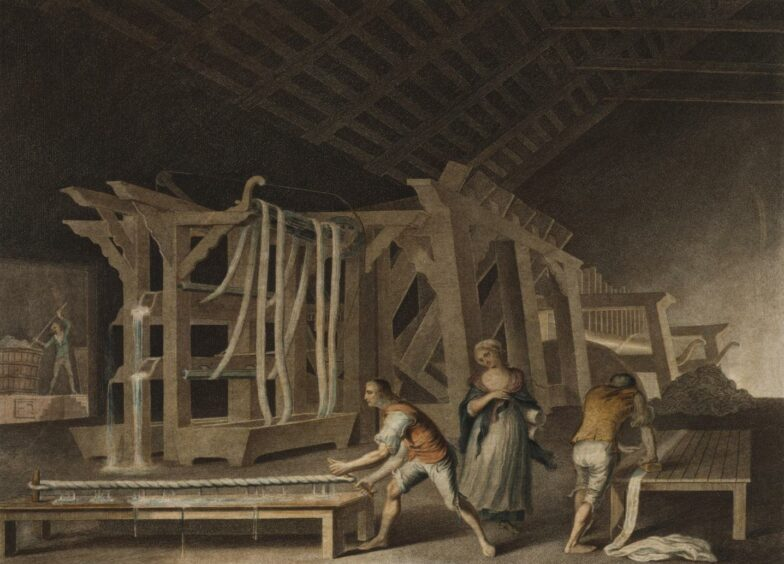 An illustration of how linen bleach mills may have looked in the late 18th and early 19th centuries.