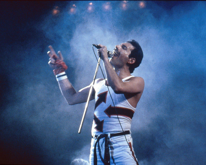 Freddie Mercury of Queen in concert in 1982.