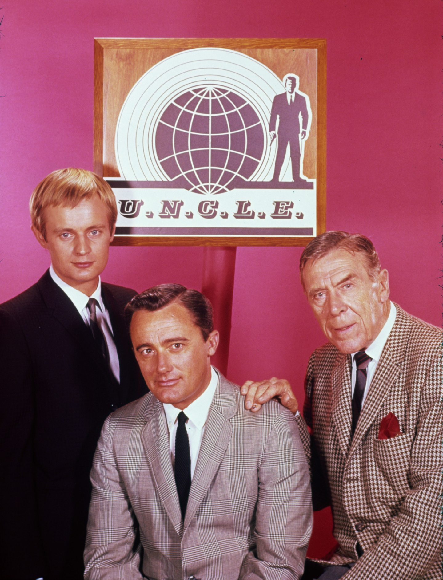 David McCallum, Robert Vaughn and Leo G Carroll pictured in 1965 during filming of The Man from U.N.C.L.E.