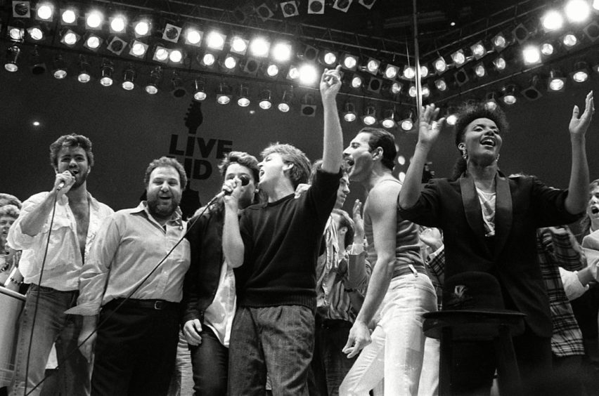 Queen were among the biggest hits at Live Aid in London in 1985.