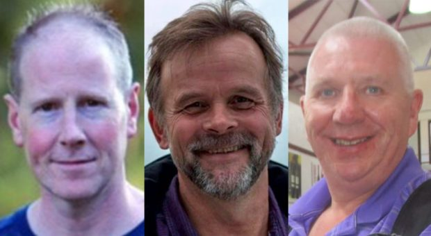 Brett McCullough, Chris Stuchbury and Donald Dinnie, who died in the Stonehaven rail crash a year ago today