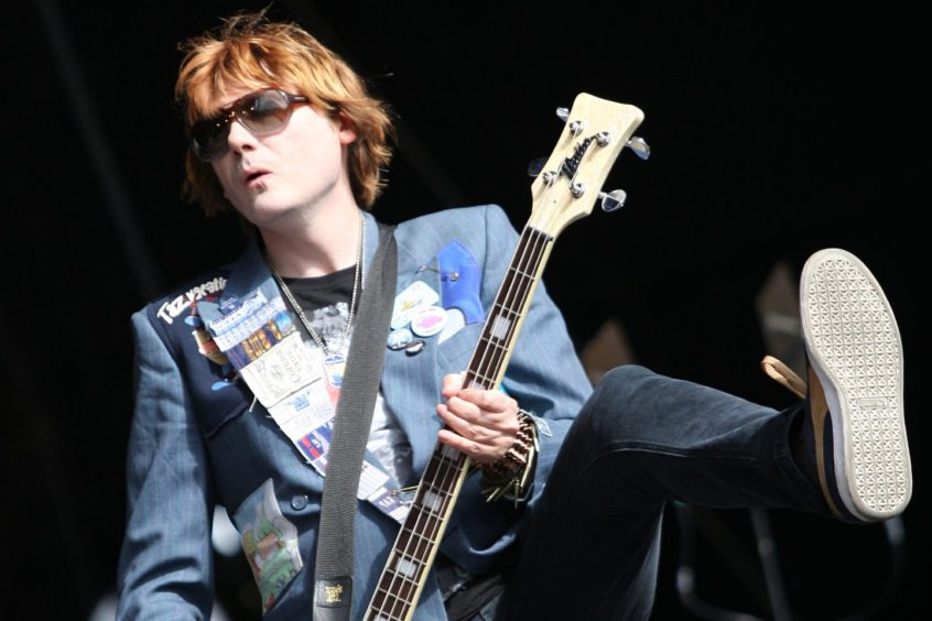 The Manics' Nicky Wire on stage at T in the Park.