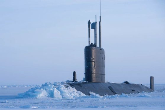 Royal Navy submarine HMS Trenchant on exercise in the Arctic. Royal Navy picture.