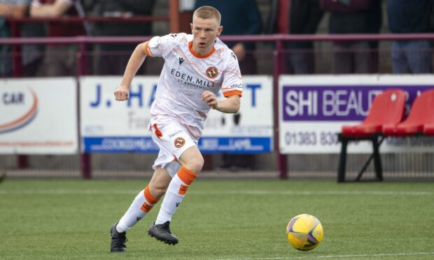 Peterhead loanee Flynn Duffy in action for Dundee United against Kelty Hearts.