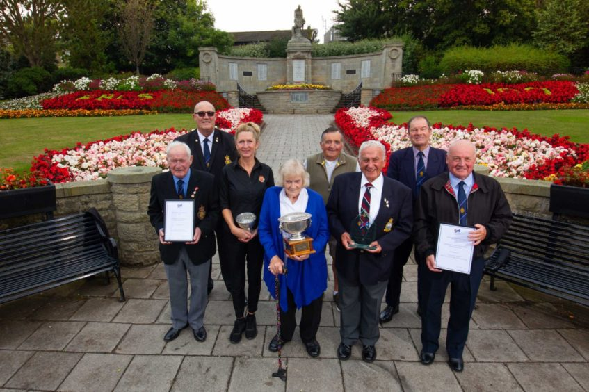 The Carnoustie Legion team at the town memorial.
