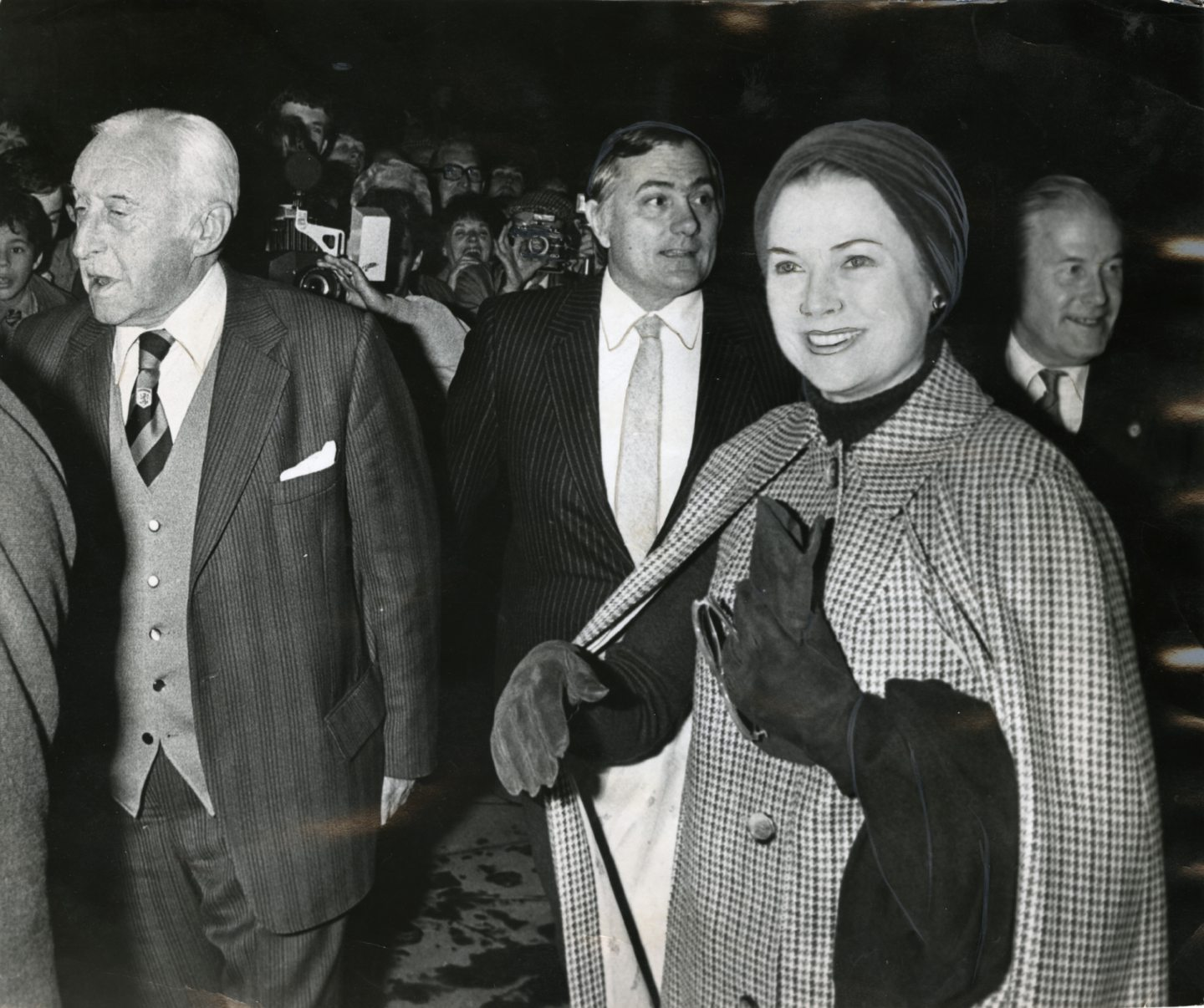 Princess Grace arriving at Tannadice to watch the Uefa Cup match in 1981.