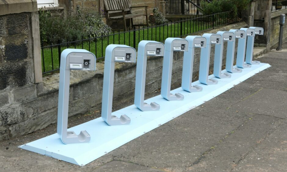 The disputed electric bike charging station in Blackness Avenue, Dundee.