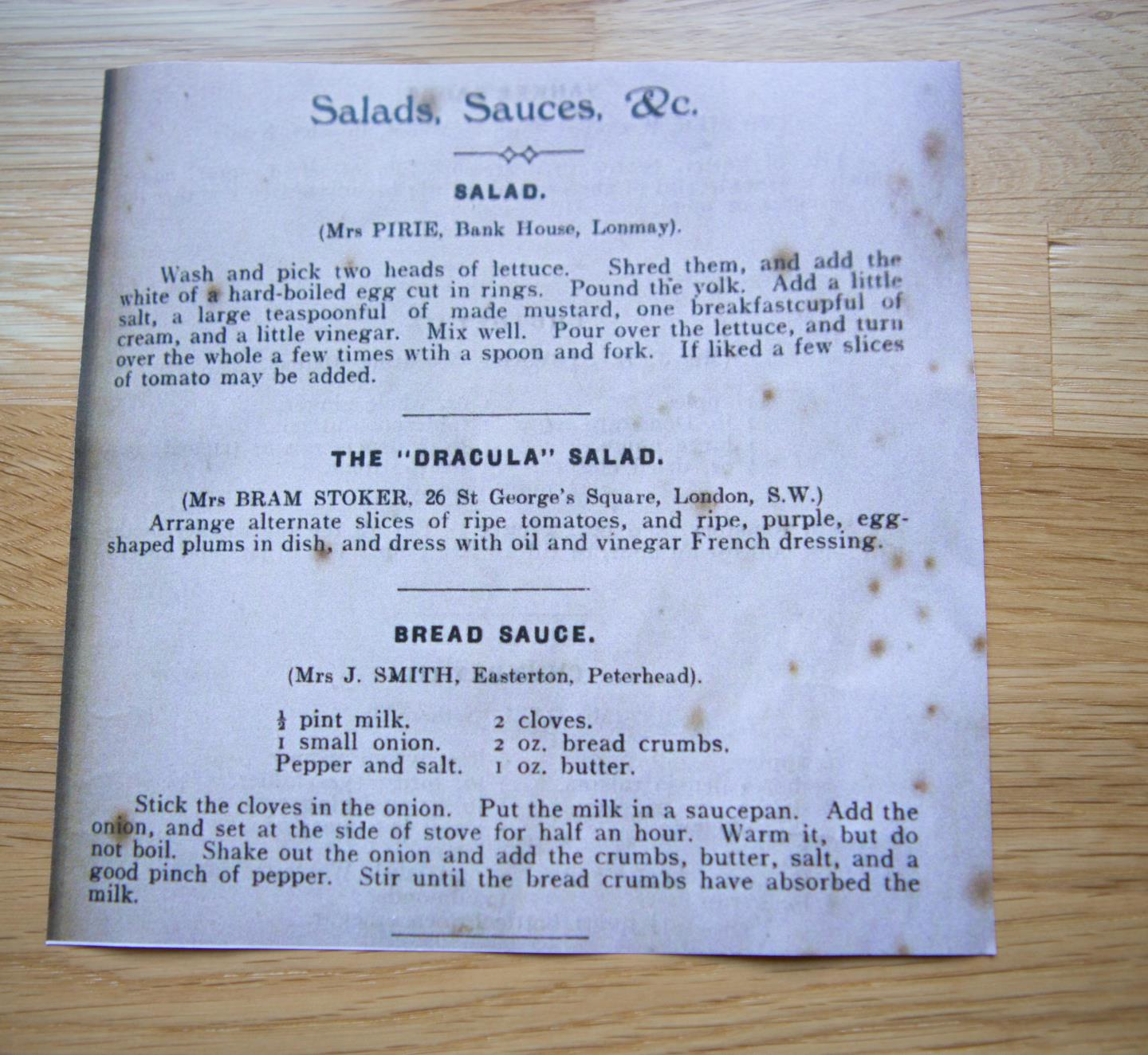 The recipe for Florence Balcombe's Dracula salad.