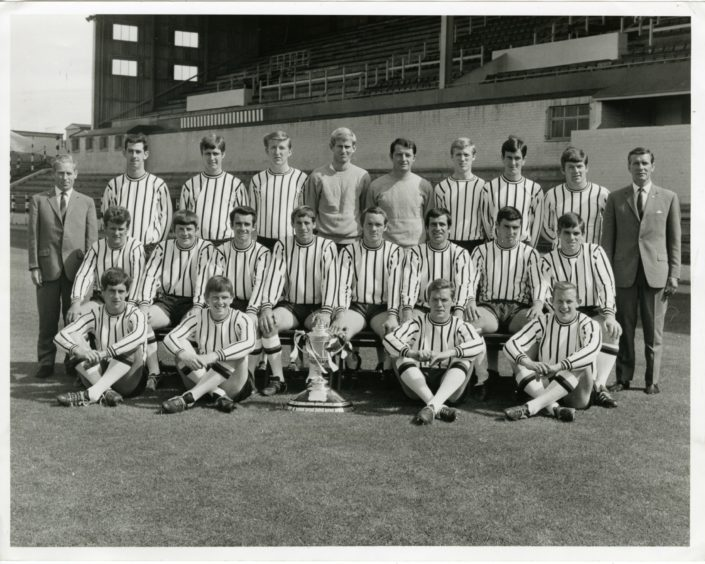 Dunfermline Athletic FC team photo with the Scottish Cup in August 1968.