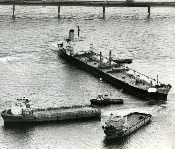 The out-of-control tanker came perilously close to striking the Tay Road Bridge in 1983.