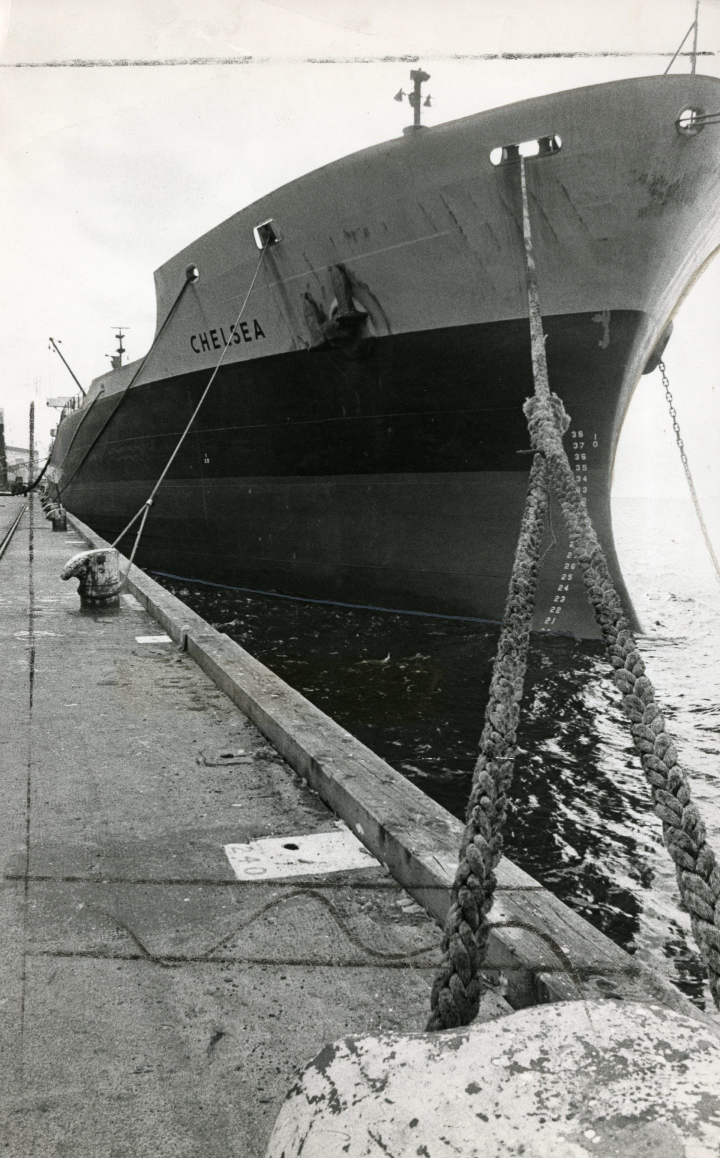 The Chelsea oil tanker berthed at the harbour following the drama in 1983.