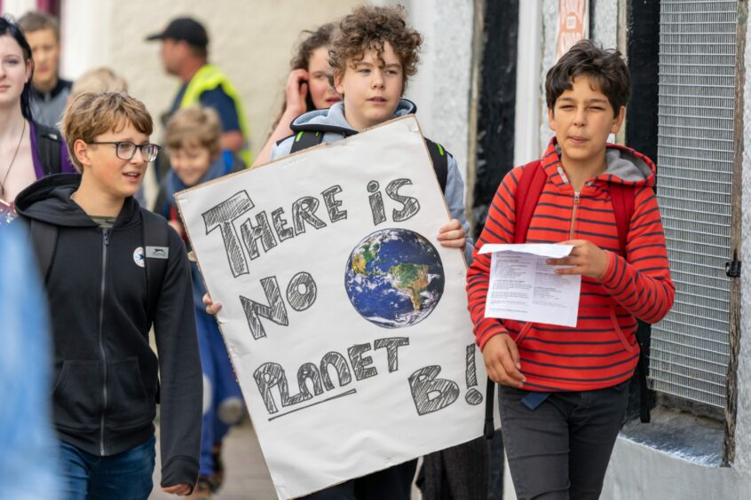 Climate change protestors in Forres.