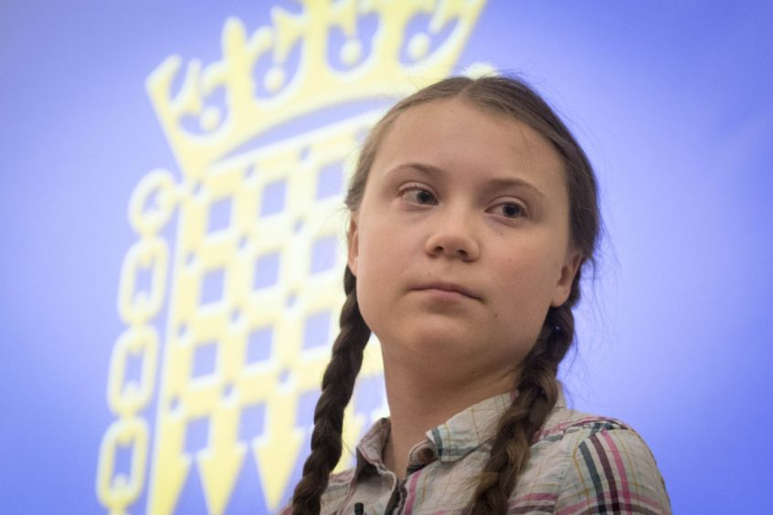 Greta Thunberg, who will attend COP26 in Glasgow, at a climate conference