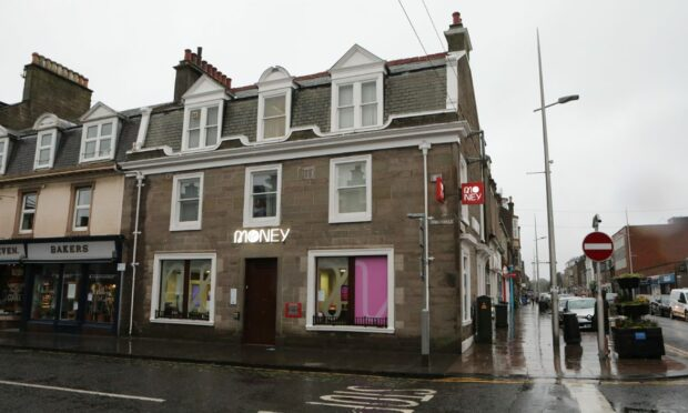 General view of Virgin Money Broughty Ferry bank branch.