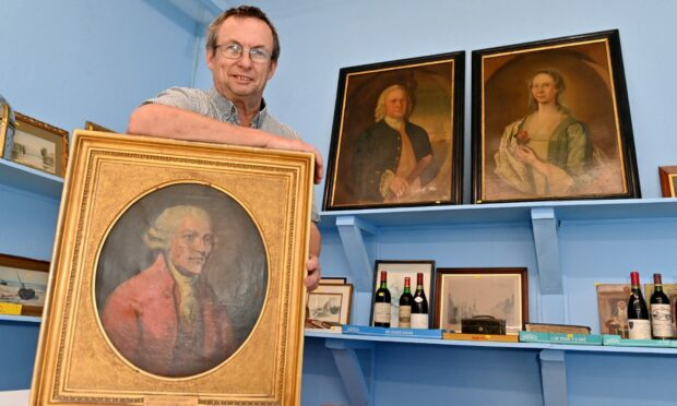 David Smith and the three portraits that are coming up for auction at Bervie Auctions, Inverbervie.