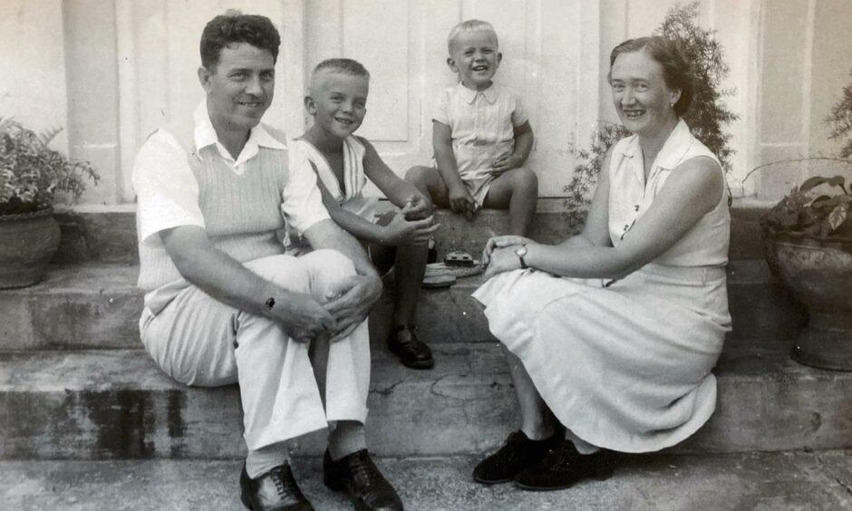 James Farquharson (later Sir James), Mrs Nan Farquharson, Ken Farquharson, left, and Hugh Farquharson, probably in Dar-es-Salaam.