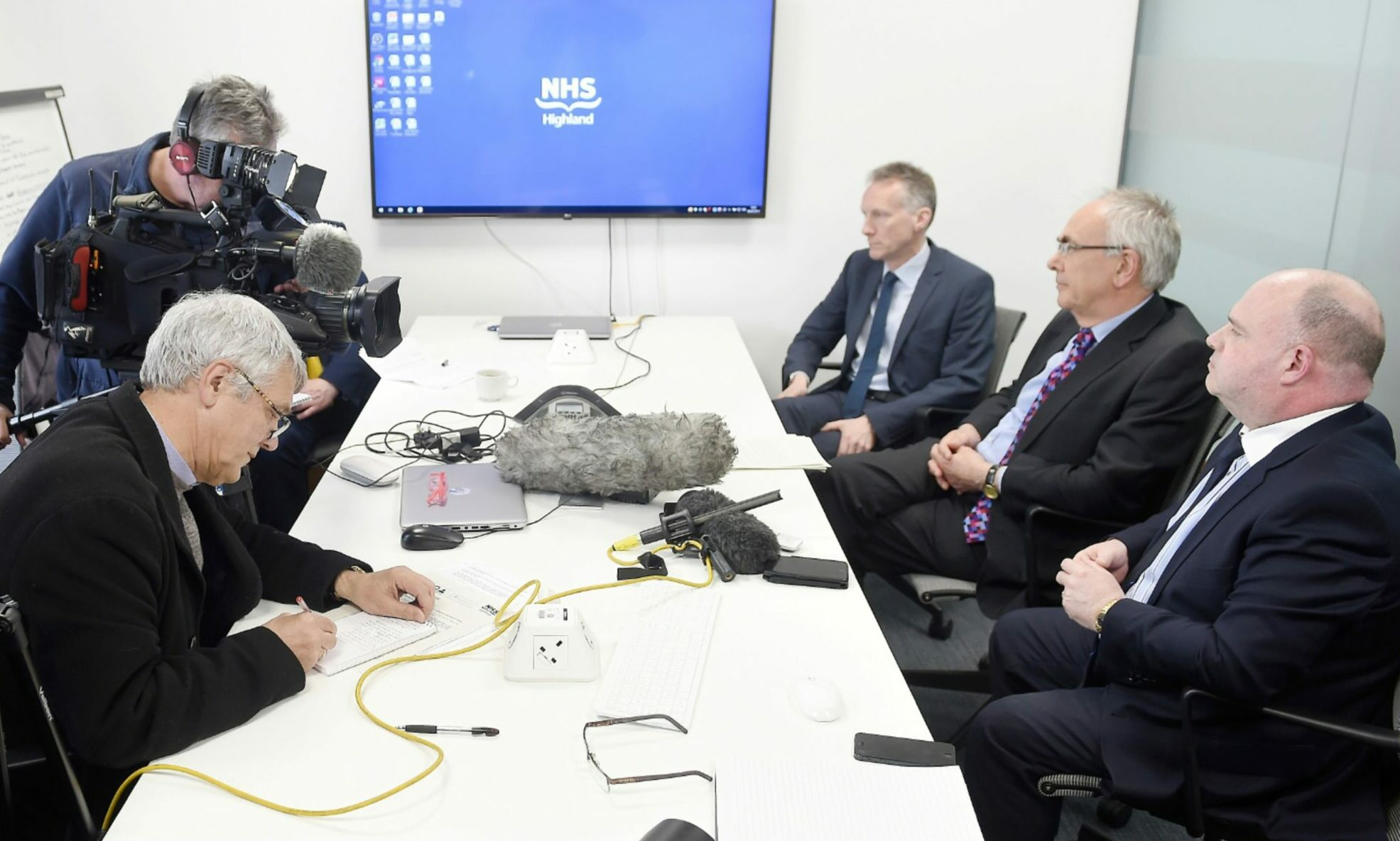The Sturrock report in to bullying claims within NHS Highland is revealed at a press call in February 2019 with interim medical director Boyd Peters, interim chairman Prof Boyd Robertson and chief executive Iain Stewart.