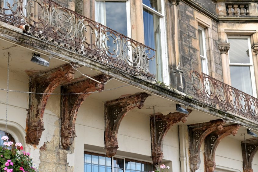 The Columba Hotel on Ness Walk with its first-floor balustrade now again on show. Picture by Sandy McCook.