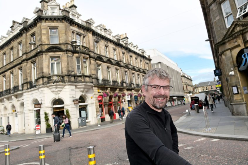 Inverness architect Calum D Maclean at Queensgate, Inverness with its distinctly Parisian look.