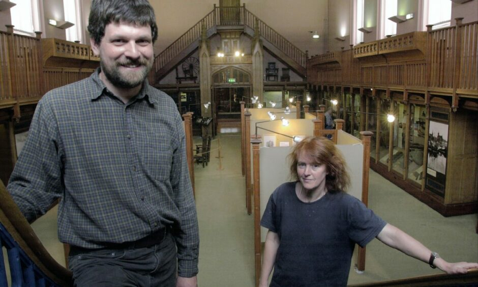 Marischal Museum curator, Neil Curtis and assistant curator Hilary Murray.