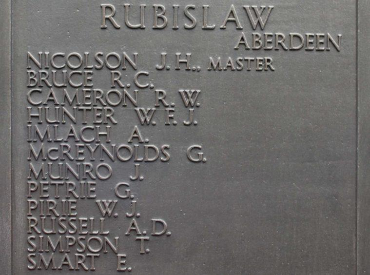 The memorial at Tower Hill in London for the Rubislaw, which was sunk in 1939.