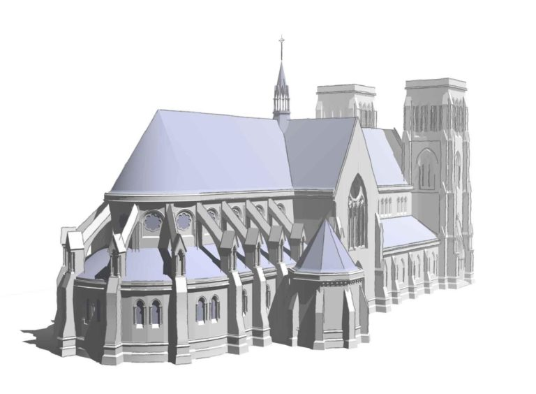 Alexander Ross, architect of Inverness Cathedral, was heavily influenced by Paris in his commissions for Inverness. This drawing, reproduced by kind permission of Calum Maclean, shows how it might have resembled Notre Dame.