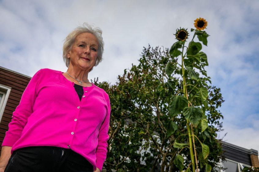 Liz with the sunflower she has nicknamed Betty.