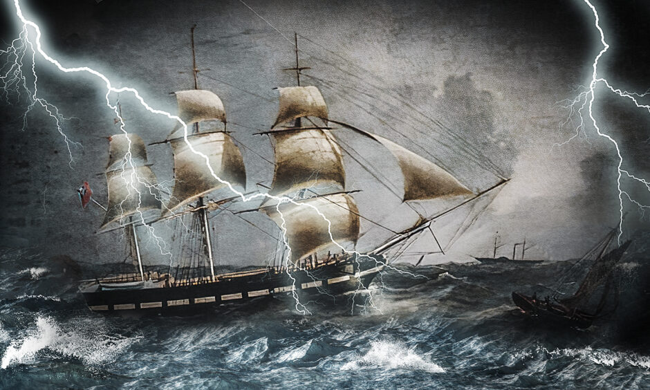 Storm-bound ship Annie Jane imagined from a painting by Joseph Heard. Supplied by National Maritime Museum.