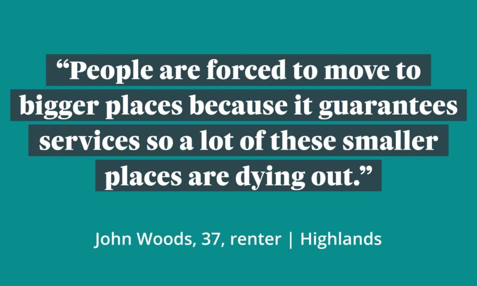 A graphic which reads 'People are forced to move to bigger places because it guarantees services so a lot of these smaller places are dying out.'