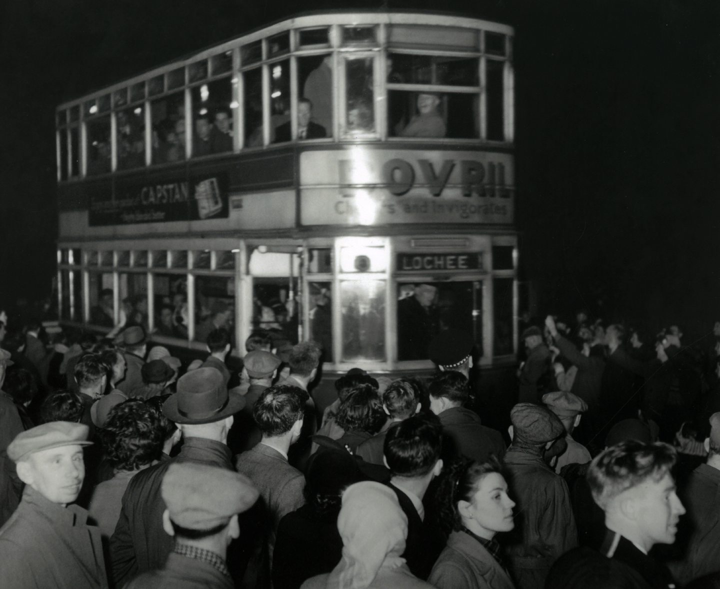 The last tramcar leaving Maryfield Depot, Dundee.