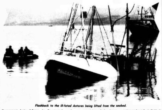 The Antares fishing boat being raised from the Firth of Clyde.