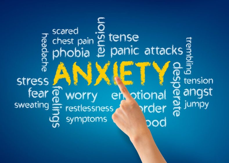 A finger pointing to the word 'anxiety' and it's synonyms