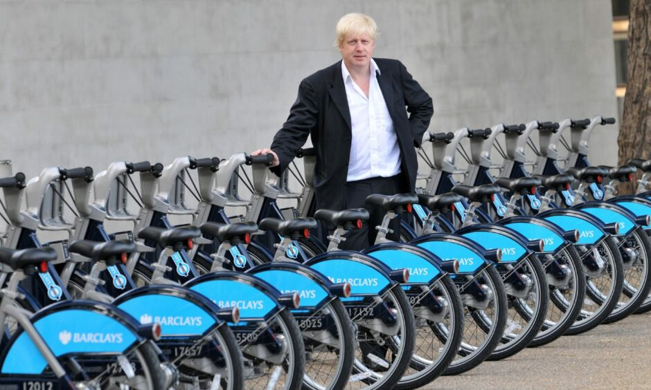 Then Mayor of London, Boris Johnson, with the some of the so-called Boris Bikes ahead of their launch in 2010.