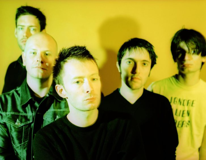 Radiohead pictured in 1997 before they performed in Dundee.