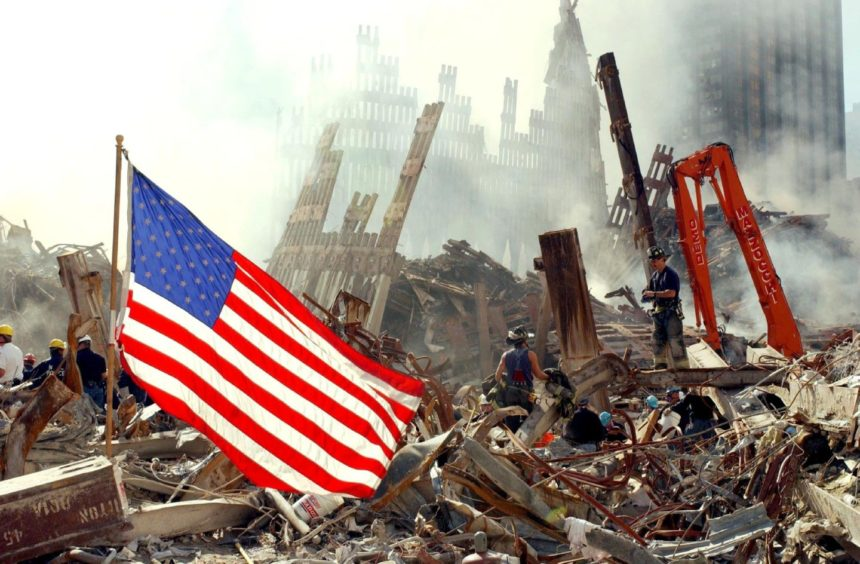 Rescue workers search for survivors at Ground Zero following the attacks on 9/11.