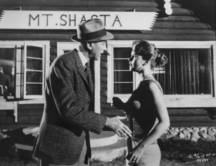 James Stewart and Lee Remick on the set of Anatomy Of A Murder.