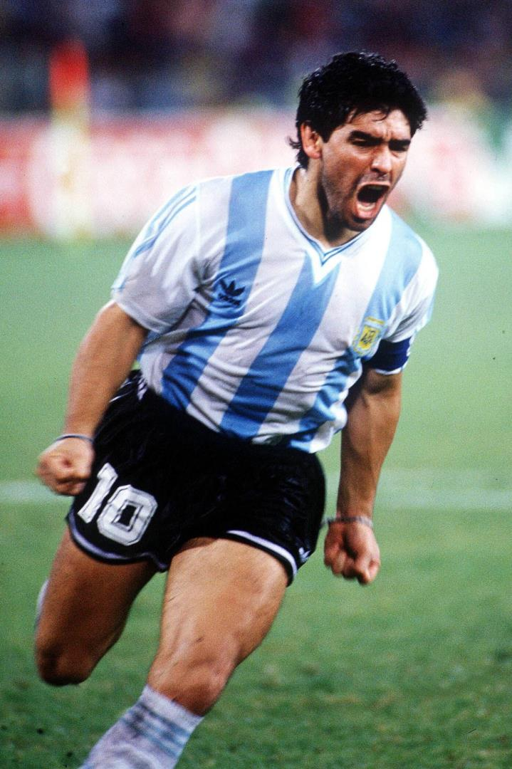 Diego Maradona after scoring a penalty kick at the 1990 World Cup in Italy.