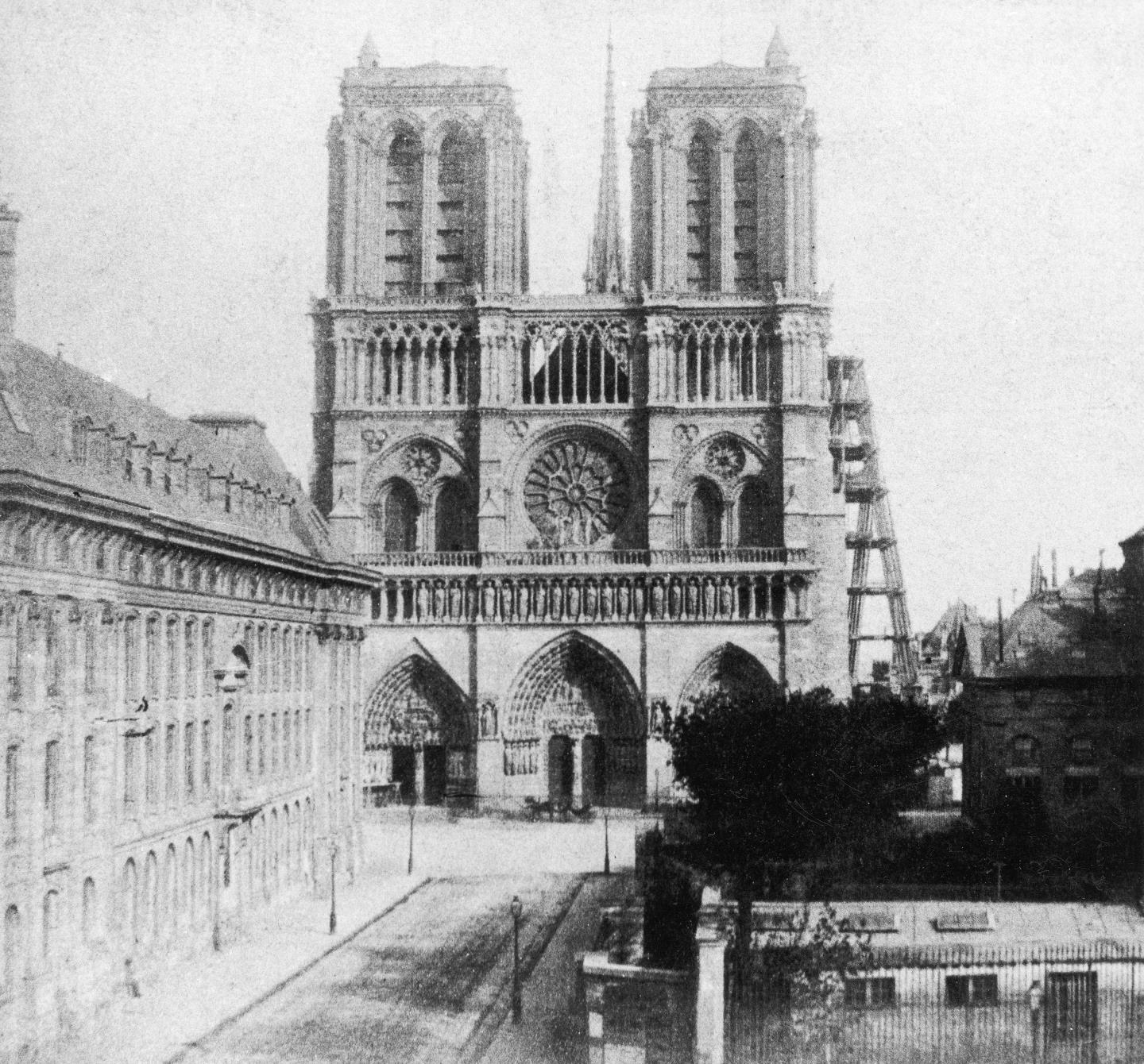 Notre Dame Cathedral in Paris, France, photographed around 1855, during the restoration Led By Eugène Viollet-Le-Duc And Jean Lassus.